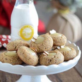 Honey Almond Cookies - Gluten free thumbprint cookies made completely with honey as the sweetener!