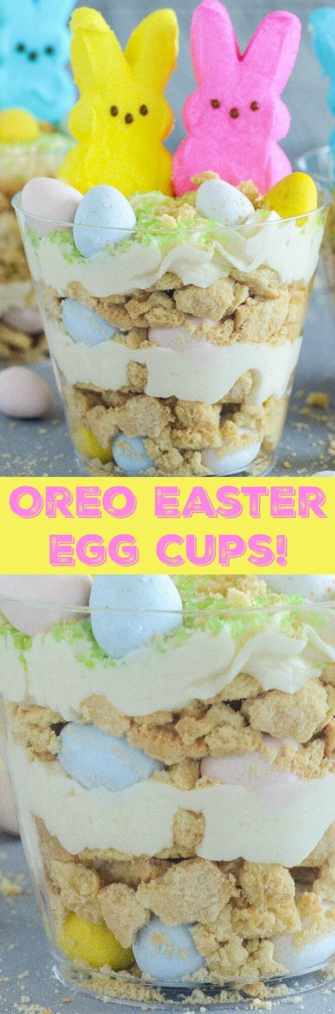 Oreo Easter Egg Cups - crushed vanilla oreos are layered with oreo cream filling buttercream and mini cadbury eggs!