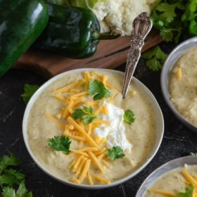 Roasted Poblano Chicken Cauliflower Soup is a creamy soup that is loaded with flavor, but still kid approved, and happens to be low carb and keto friendly!