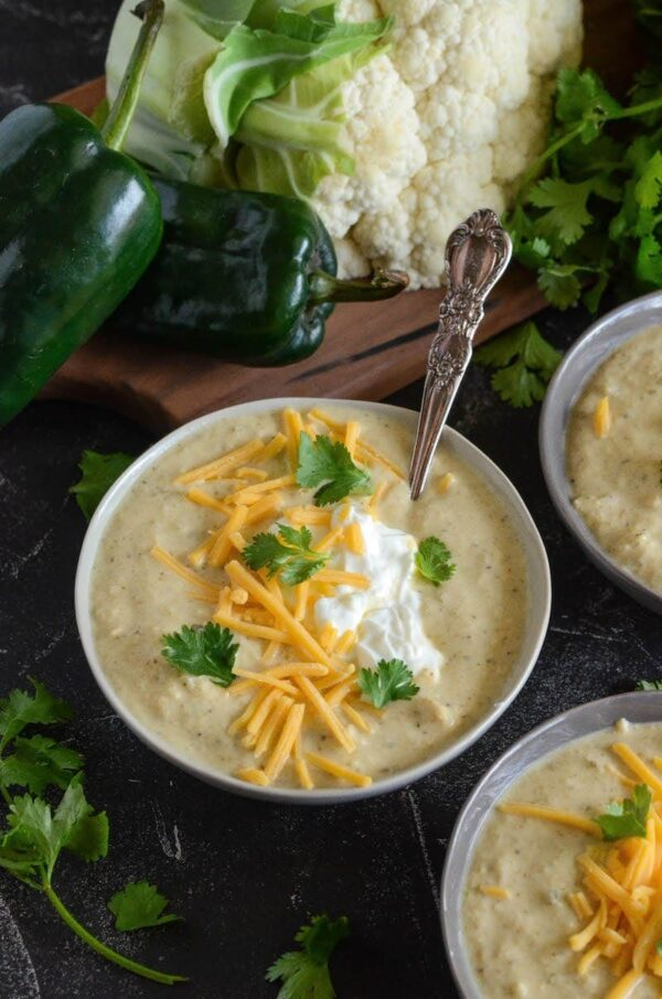 Roasted Poblano Chicken Cauliflower Soup is a creamy soup that is ...