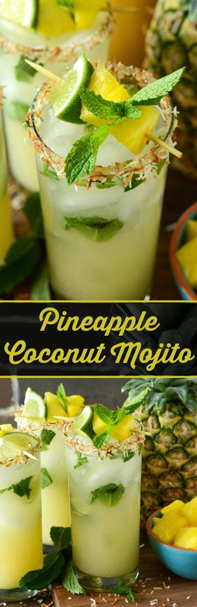 Pineapple Coconut Mojito: the classic mint mojito is remixed with another tropical favorite, the piña colada, to create the ultimate fresh summer rum cocktail!