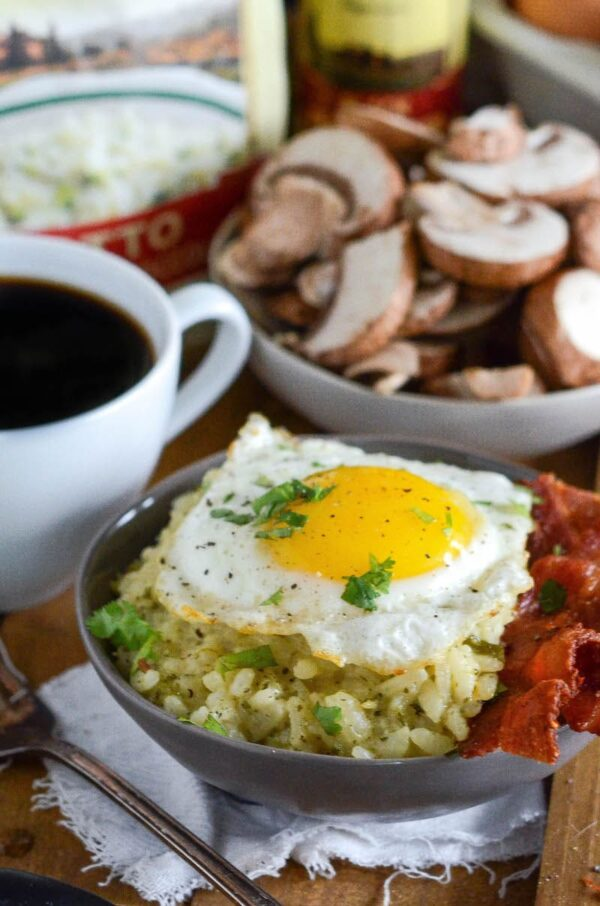 Risotto Brunch Bowl: kick off brunch with a 30 minute savory bowl filled with creamy broccolini and mushroom risotto, crispy bacon and a sunny side up egg.