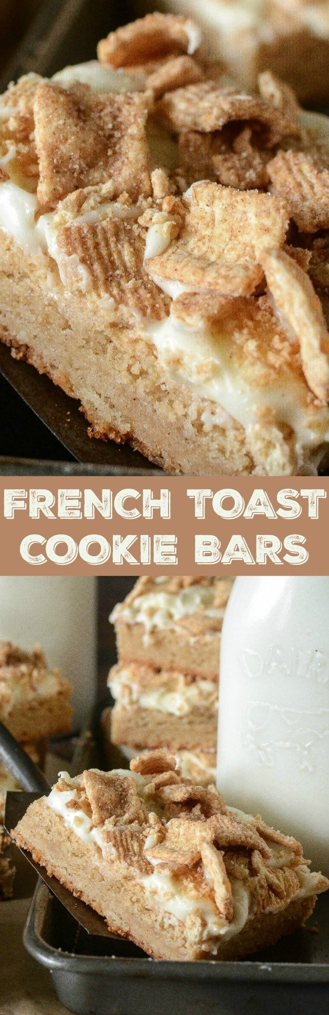 French Toast Cookie Bars: a layer of chewy maple sugar cookies are frosted with sweet vanilla cream cheese and sprinkled with a layer Cinnamon Toast Crunch!